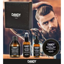 DANDY Gift Box - šampón, 300 ml + sanitizer, 100 ml + olej na bradu, 70 ml + vosk na bradu, 50 ml